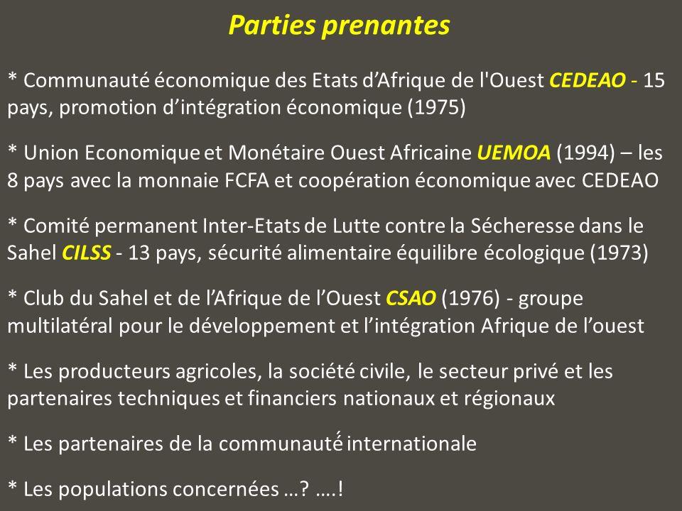 * Communauté économique des Etats dAfrique de l Ouest CEDEAO - 15 pays, promotion dintégration économique (1975) * Union Economique et Monétaire Ouest Africaine UEMOA (1994) – les 8 pays avec la monnaie FCFA et coopération économique avec CEDEAO * Comité permanent Inter-Etats de Lutte contre la Sécheresse dans le Sahel CILSS - 13 pays, sécurité alimentaire équilibre écologique (1973) * Club du Sahel et de lAfrique de lOuest CSAO (1976) - groupe multilatéral pour le développement et lintégration Afrique de louest * Les producteurs agricoles, la société civile, le secteur privé et les partenaires techniques et financiers nationaux et régionaux * Les partenaires de la communauté́ internationale * Les populations concernées ….