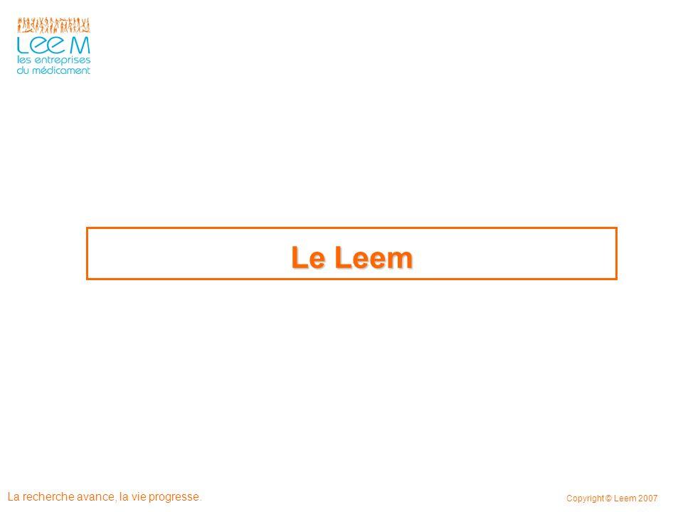 La recherche avance, la vie progresse. Copyright © Leem 2007 Le Leem