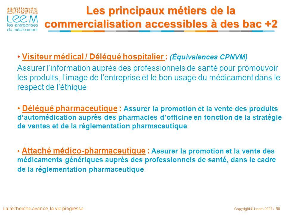 La recherche avance, la vie progresse. Copyright © Leem 2007 / 50 Visiteur médical / Délégué hospitalier : (Équivalences CPNVM) Assurer linformation a