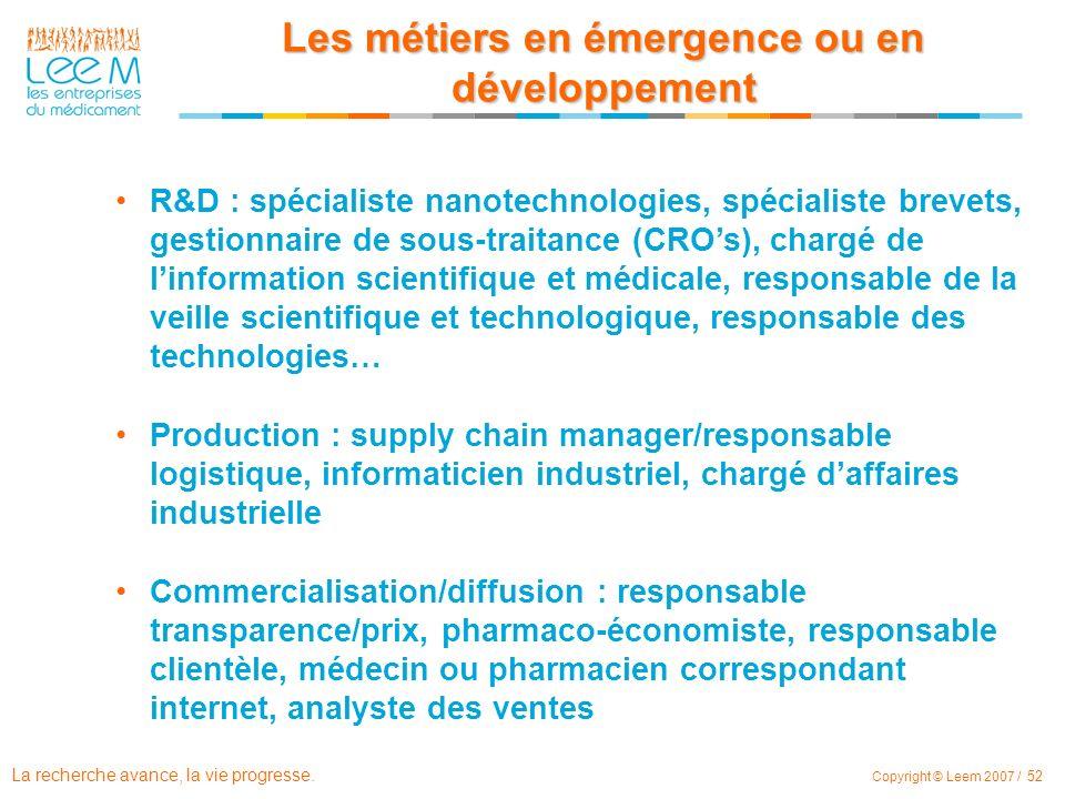 La recherche avance, la vie progresse. Copyright © Leem 2007 / 52 R&D : spécialiste nanotechnologies, spécialiste brevets, gestionnaire de sous-traita