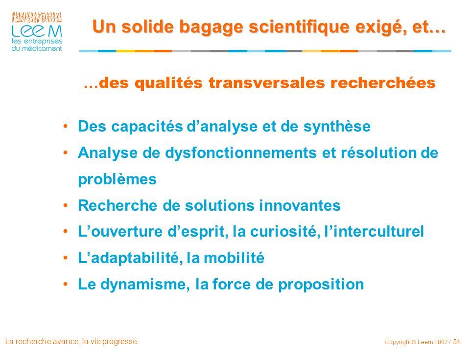 La recherche avance, la vie progresse. Copyright © Leem 2007 / 54 Des capacités danalyse et de synthèse Analyse de dysfonctionnements et résolution de