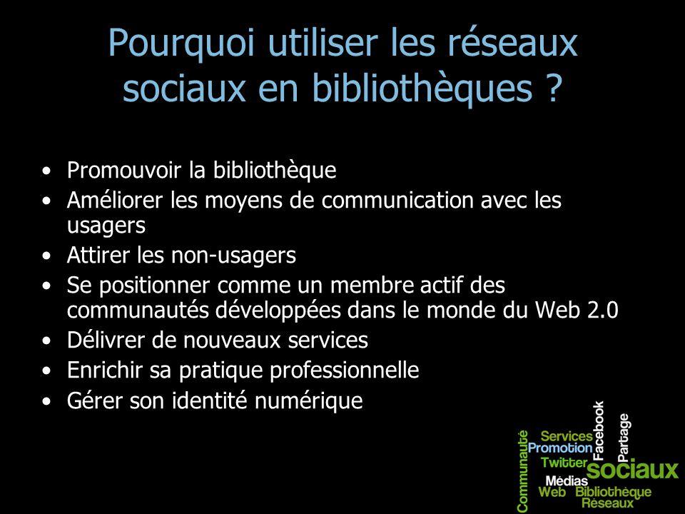 Pourquoi utiliser les réseaux sociaux en bibliothèques ? Promouvoir la bibliothèque Améliorer les moyens de communication avec les usagers Attirer les