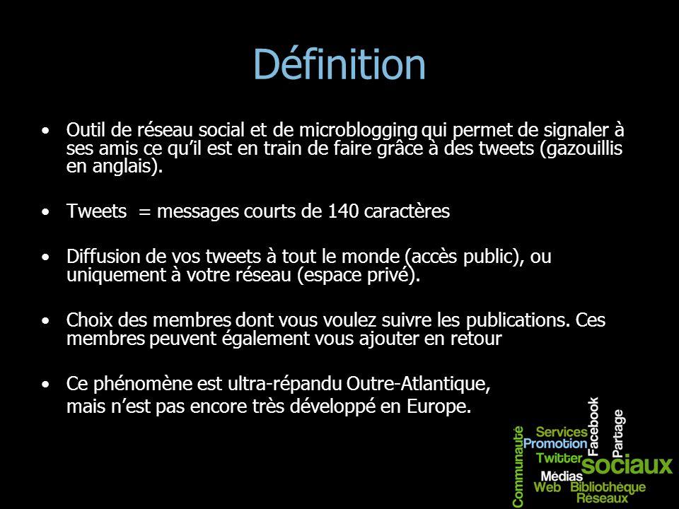 Définition Outil de réseau social et de microblogging qui permet de signaler à ses amis ce quil est en train de faire grâce à des tweets (gazouillis e