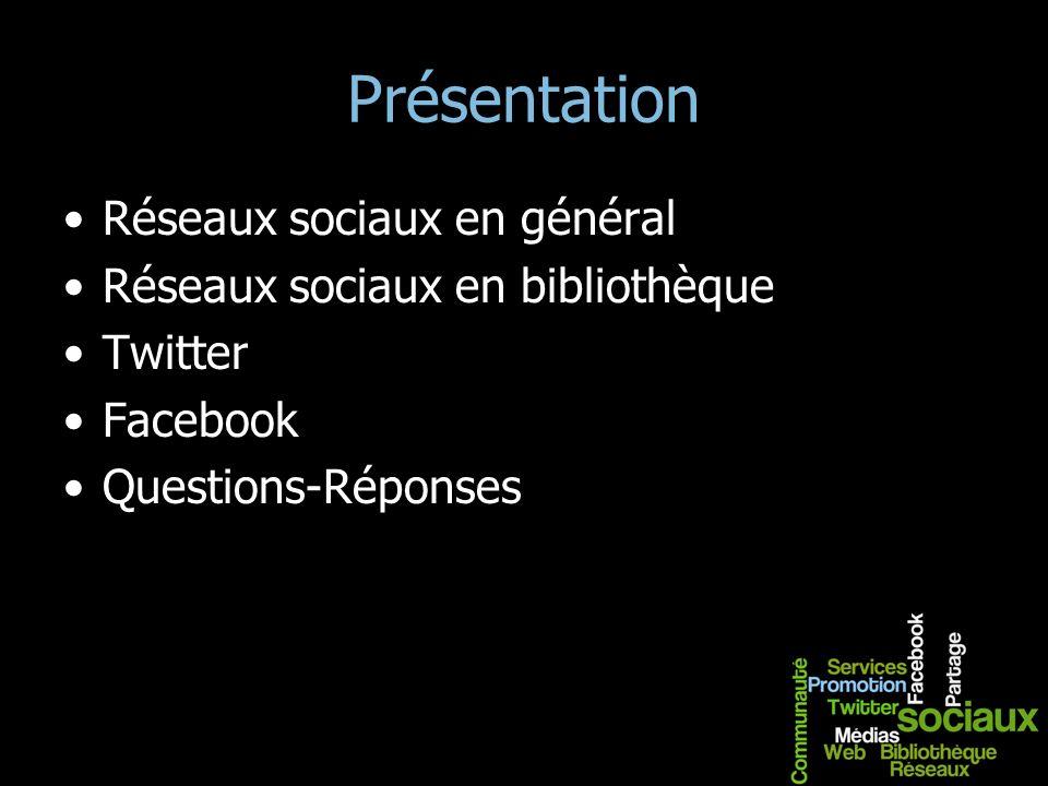 Présentation Réseaux sociaux en général Réseaux sociaux en bibliothèque Twitter Facebook Questions-Réponses