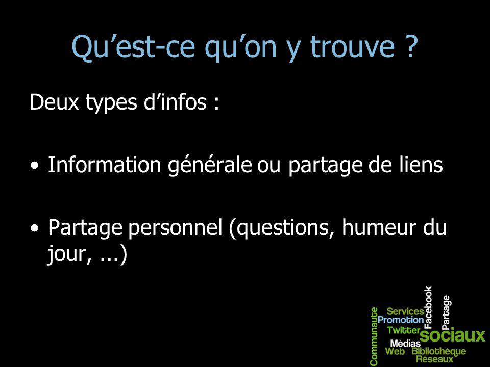 Quest-ce quon y trouve ? Deux types dinfos : Information générale ou partage de liens Partage personnel (questions, humeur du jour,...)