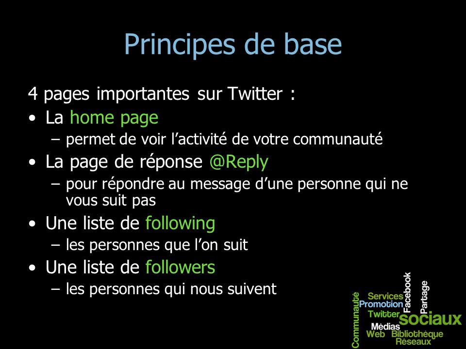 Principes de base 4 pages importantes sur Twitter : La home page –permet de voir lactivité de votre communauté La page de réponse @Reply –pour répondr