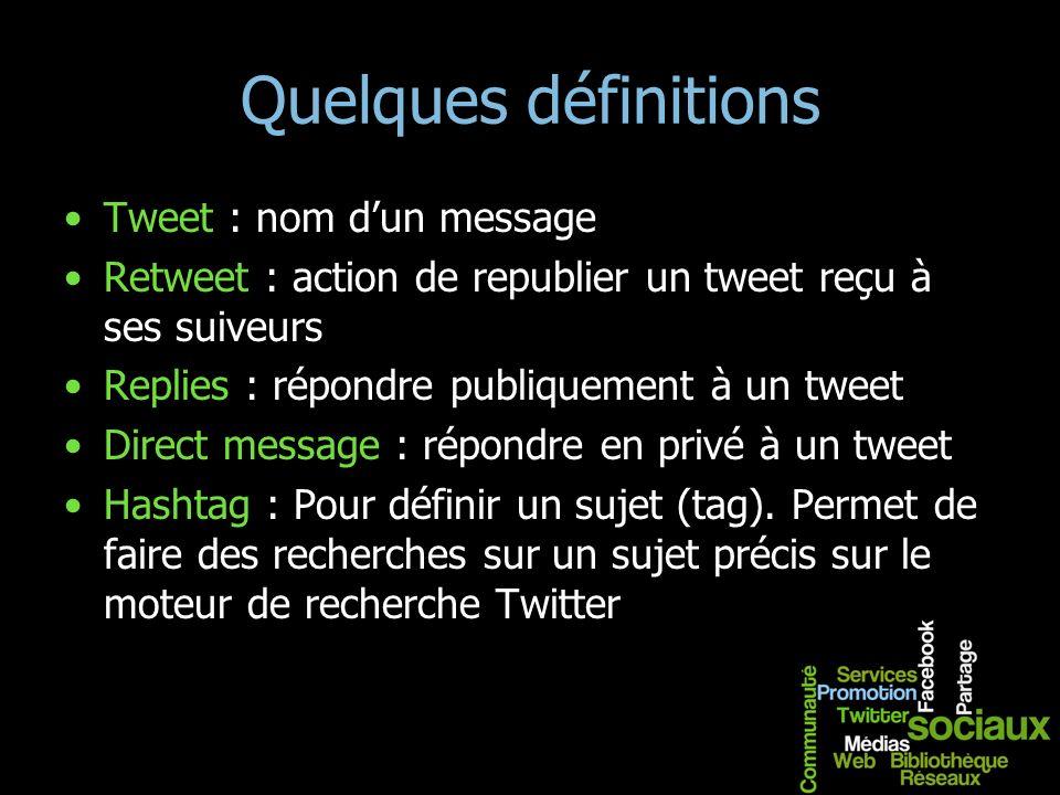 Quelques définitions Tweet : nom dun message Retweet : action de republier un tweet reçu à ses suiveurs Replies : répondre publiquement à un tweet Dir