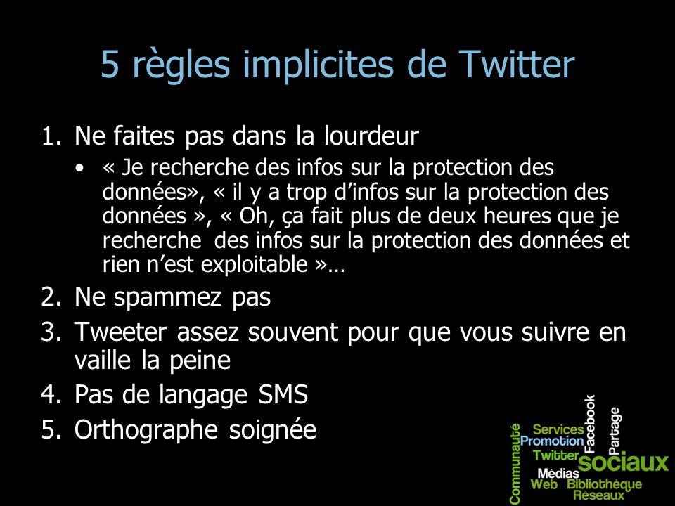 5 règles implicites de Twitter 1.Ne faites pas dans la lourdeur « Je recherche des infos sur la protection des données», « il y a trop dinfos sur la p