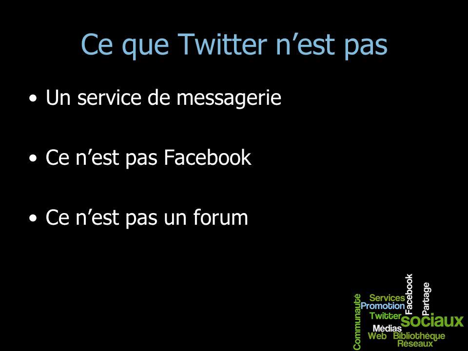 Ce que Twitter nest pas Un service de messagerie Ce nest pas Facebook Ce nest pas un forum