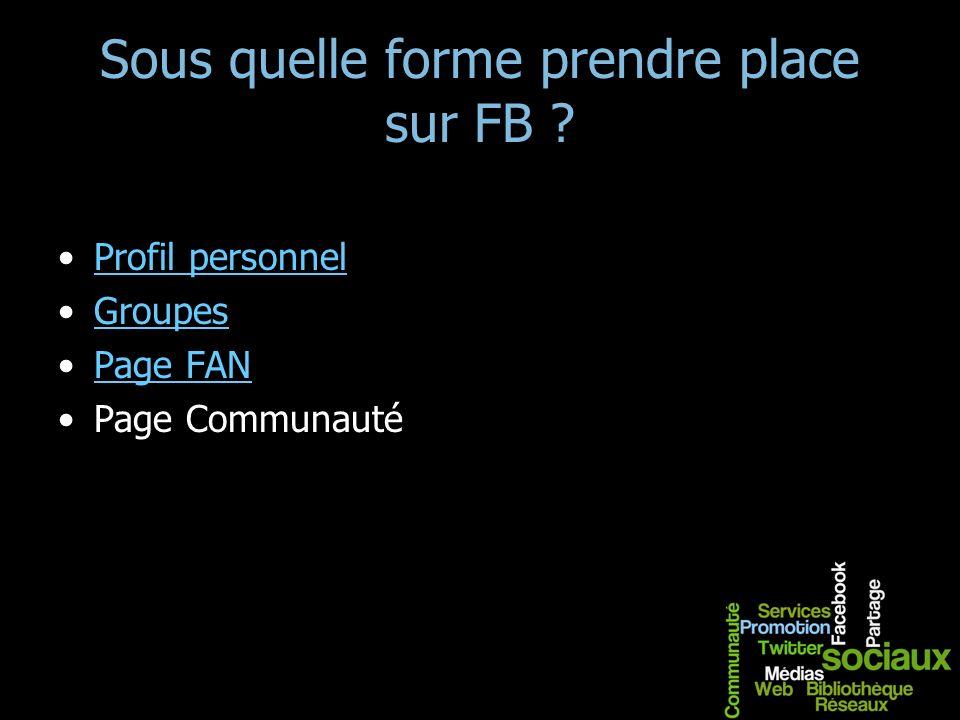 Sous quelle forme prendre place sur FB ? Profil personnel Groupes Page FAN Page Communauté