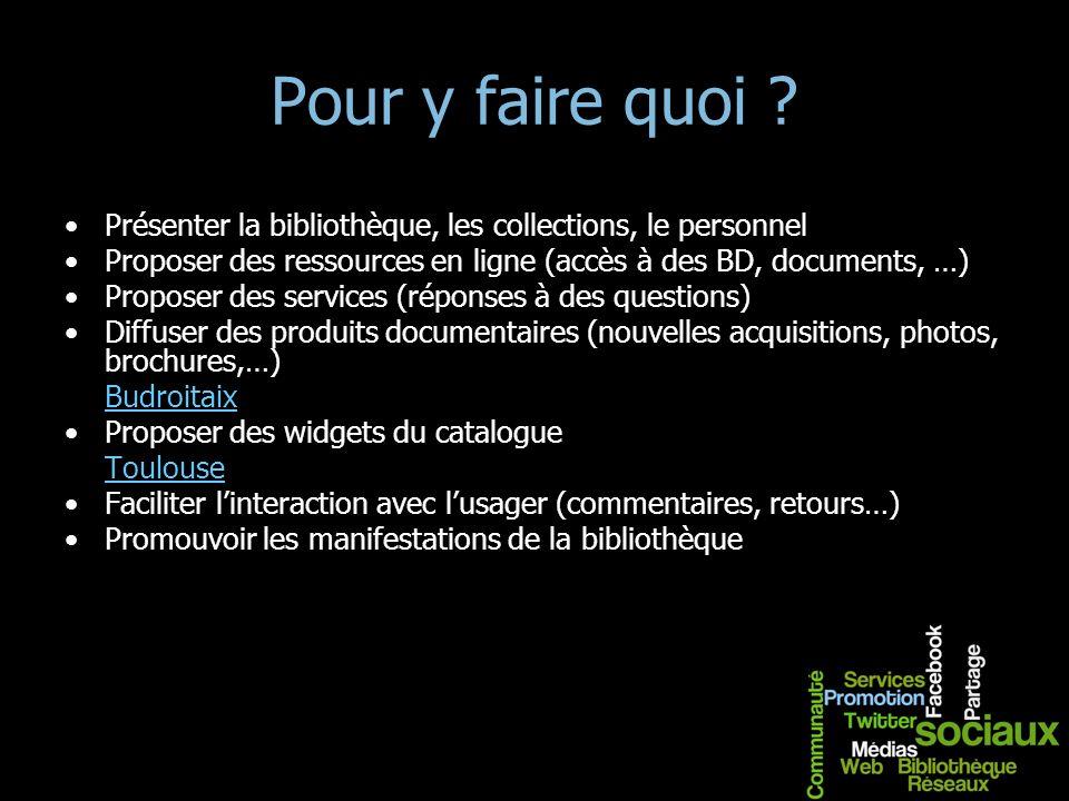 Pour y faire quoi ? Présenter la bibliothèque, les collections, le personnel Proposer des ressources en ligne (accès à des BD, documents, …) Proposer