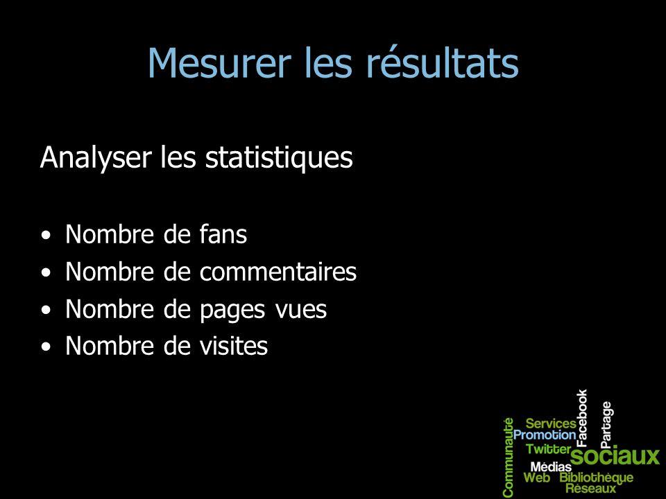Mesurer les résultats Analyser les statistiques Nombre de fans Nombre de commentaires Nombre de pages vues Nombre de visites
