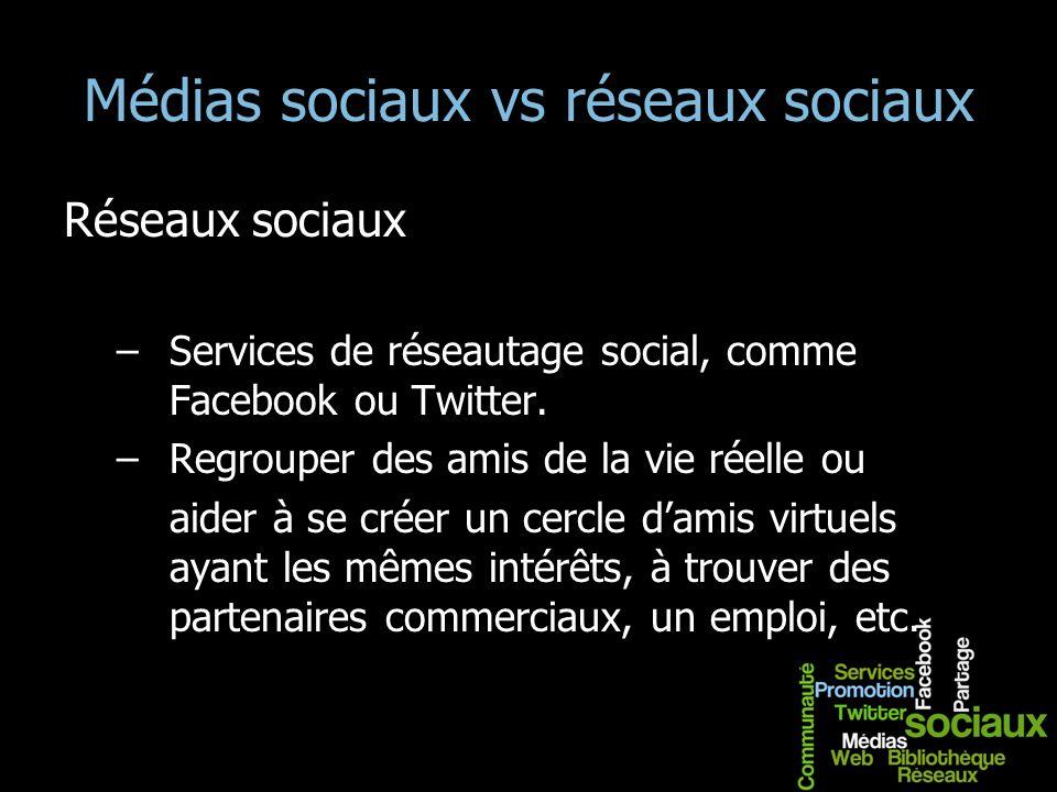 Médias sociaux vs réseaux sociaux Réseaux sociaux –Services de réseautage social, comme Facebook ou Twitter. –Regrouper des amis de la vie réelle ou a