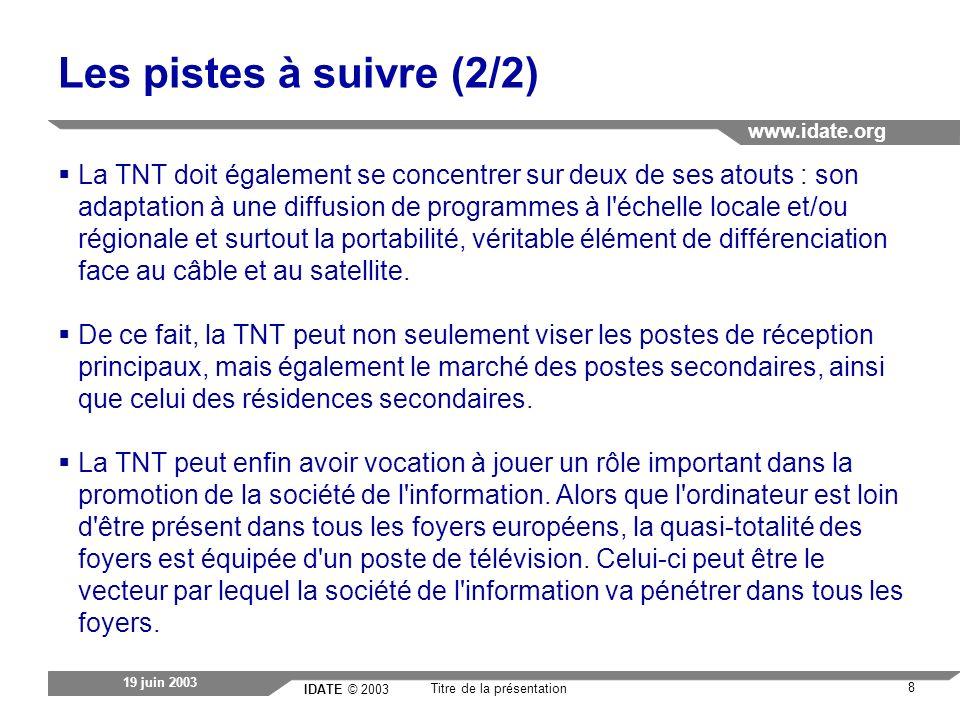 IDATE © 2003 www.idate.org 8 Titre de la présentation 19 juin 2003 Les pistes à suivre (2/2) La TNT doit également se concentrer sur deux de ses atouts : son adaptation à une diffusion de programmes à l échelle locale et/ou régionale et surtout la portabilité, véritable élément de différenciation face au câble et au satellite.