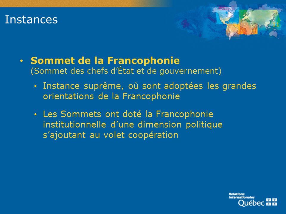 Instances Sommet de la Francophonie (Sommet des chefs dÉtat et de gouvernement) Instance suprême, où sont adoptées les grandes orientations de la Fran