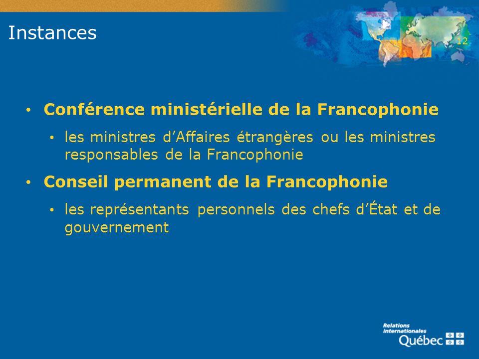 Instances Conférence ministérielle de la Francophonie les ministres dAffaires étrangères ou les ministres responsables de la Francophonie Conseil perm