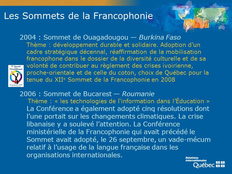 Les Sommets de la Francophonie 2004 : Sommet de Ouagadougou Burkina Faso Thème : développement durable et solidaire. Adoption dun cadre stratégique dé