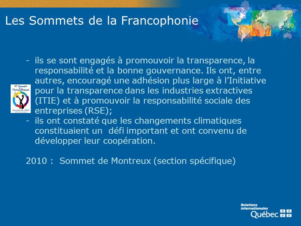 Les Sommets de la Francophonie -ils se sont engagés à promouvoir la transparence, la responsabilité et la bonne gouvernance. Ils ont, entre autres, en