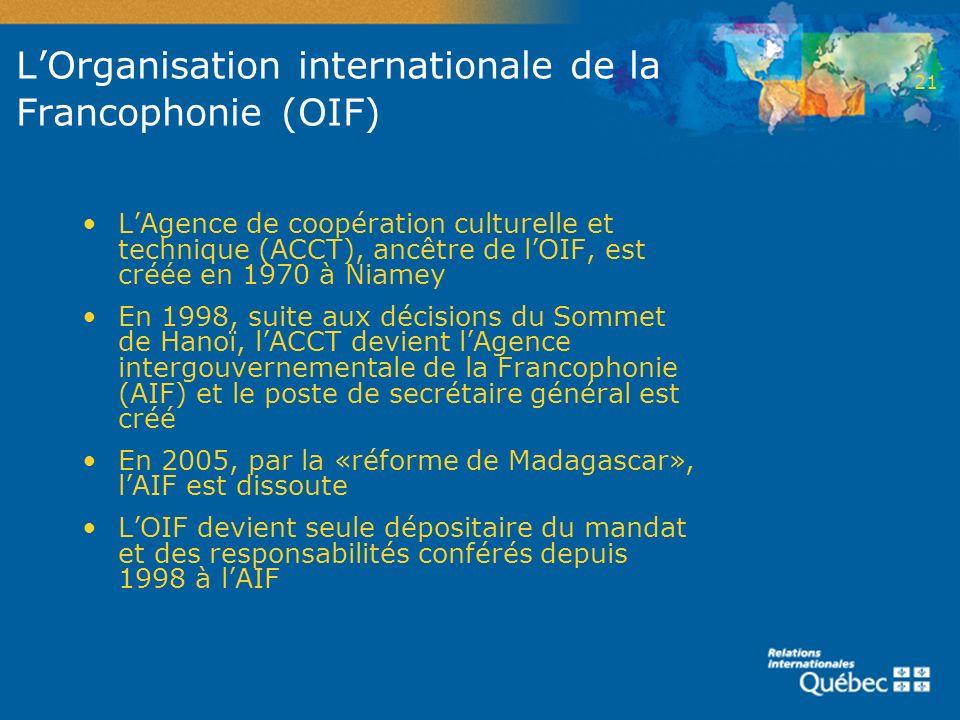LOrganisation internationale de la Francophonie (OIF) LAgence de coopération culturelle et technique (ACCT), ancêtre de lOIF, est créée en 1970 à Niam