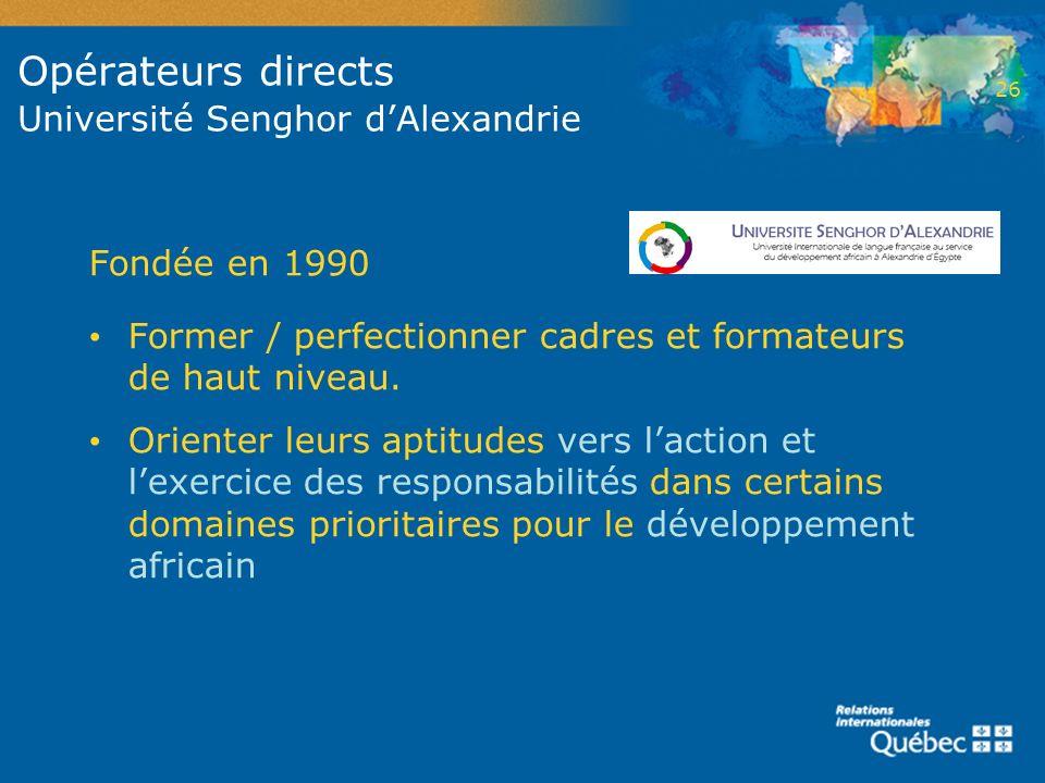Opérateurs directs Université Senghor dAlexandrie Fondée en 1990 Former / perfectionner cadres et formateurs de haut niveau. Orienter leurs aptitudes