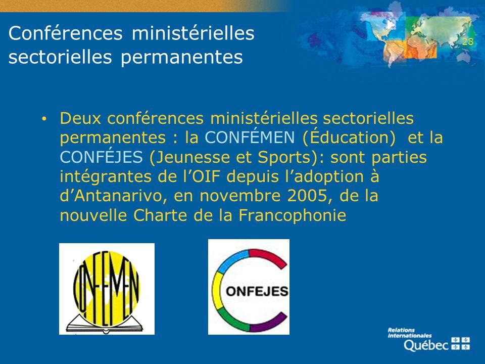Conférences ministérielles sectorielles permanentes Deux conférences ministérielles sectorielles permanentes : la CONFÉMEN (Éducation) et la CONFÉJES