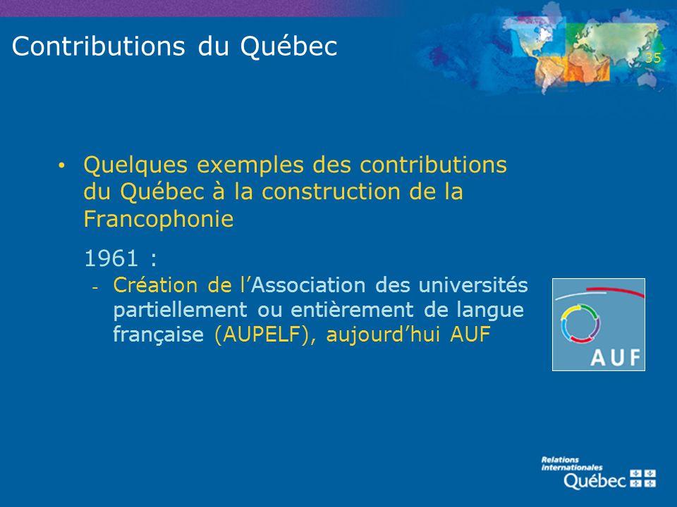 Contributions du Québec Quelques exemples des contributions du Québec à la construction de la Francophonie 1961 : - Création de lAssociation des unive
