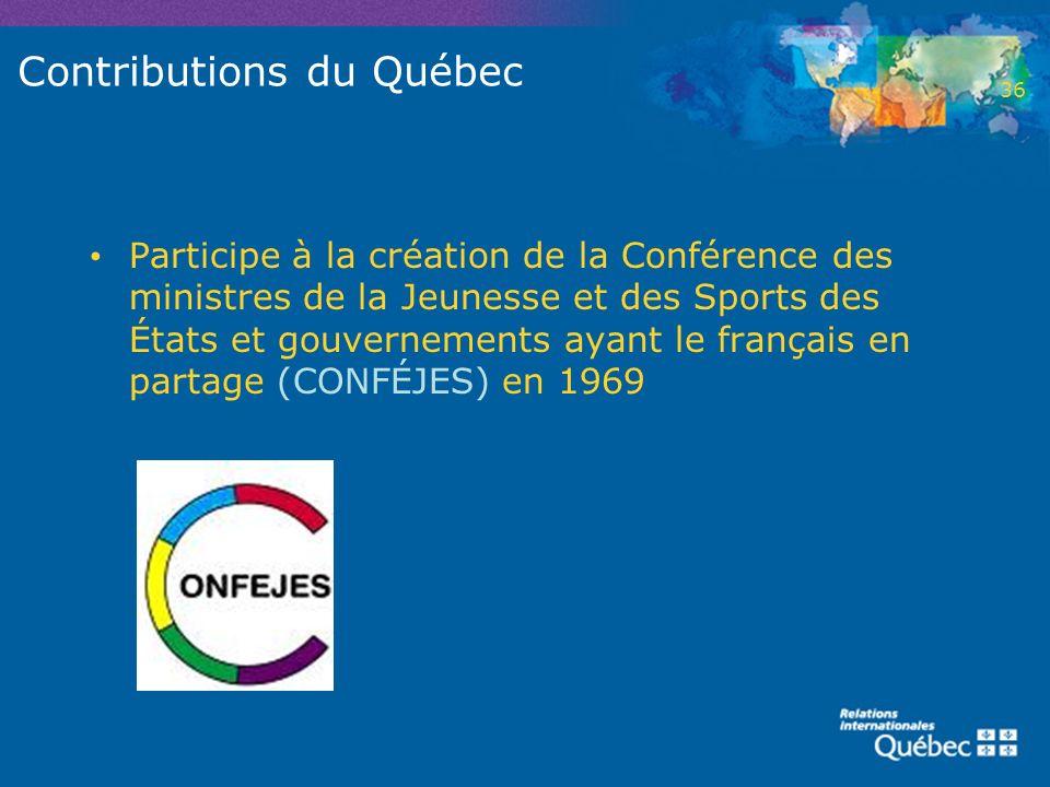 Contributions du Québec Participe à la création de la Conférence des ministres de la Jeunesse et des Sports des États et gouvernements ayant le frança