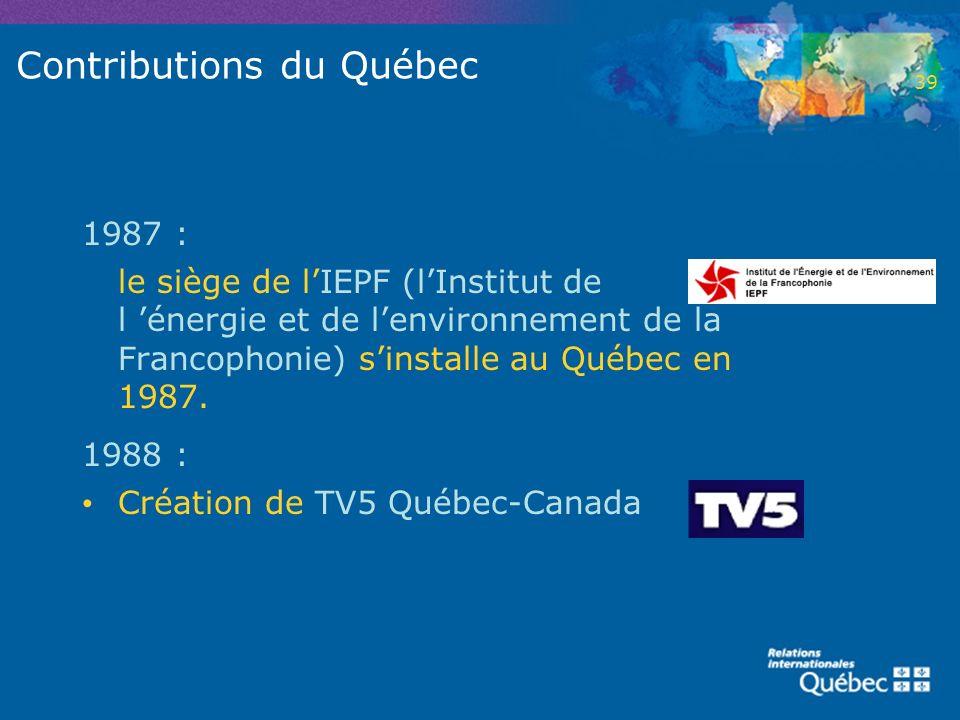 Contributions du Québec 1987 : le siège de lIEPF (lInstitut de l énergie et de lenvironnement de la Francophonie) sinstalle au Québec en 1987. 1988 :