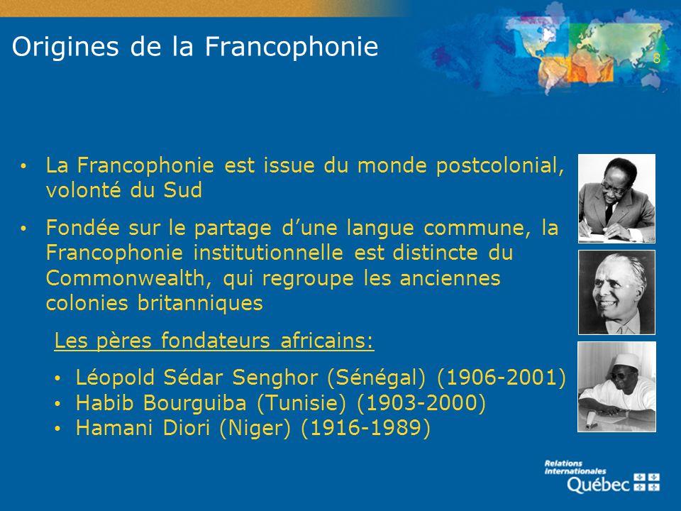 Origines de la Francophonie La Francophonie est issue du monde postcolonial, volonté du Sud Fondée sur le partage dune langue commune, la Francophonie
