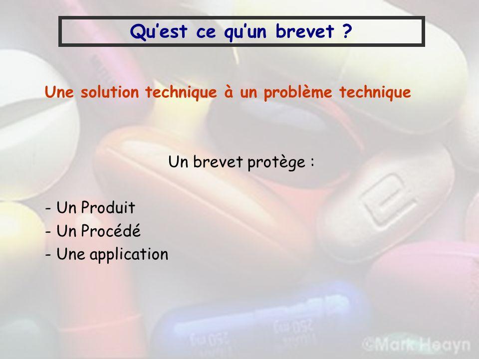Quest ce quun brevet ? Une solution technique à un problème technique Un brevet protège : - Un Produit - Un Procédé - Une application