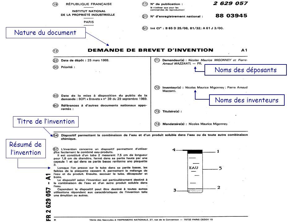 Nature du document Titre de linvention Résumé de linvention Noms des inventeurs Noms des déposants