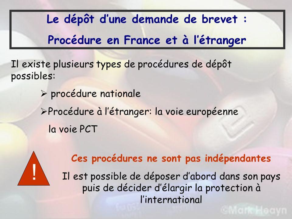 Le dépôt dune demande de brevet : Procédure en France et à létranger Il existe plusieurs types de procédures de dépôt possibles: procédure nationale P