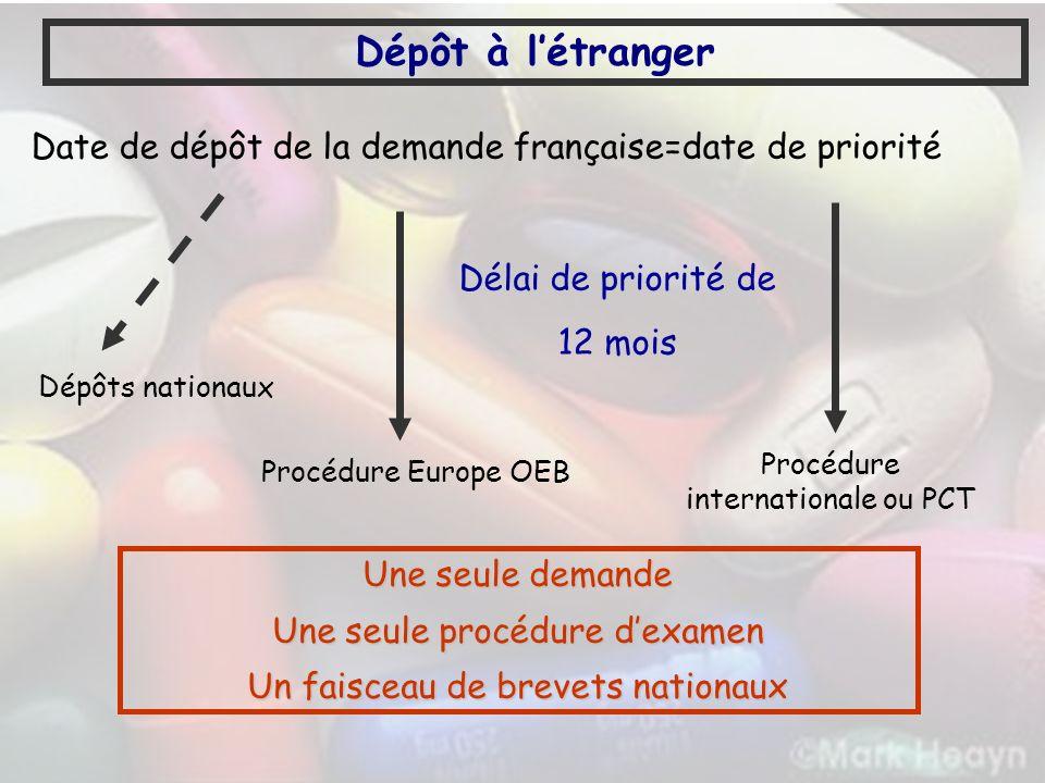 Dépôt à létranger Date de dépôt de la demande française=date de priorité Délai de priorité de 12 mois Une seule demande Une seule procédure dexamen Un