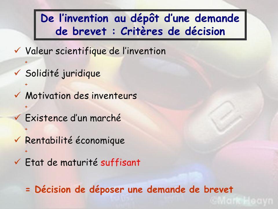 De linvention au dépôt dune demande de brevet : Critères de décision Valeur scientifique de linvention + Solidité juridique + Motivation des inventeur