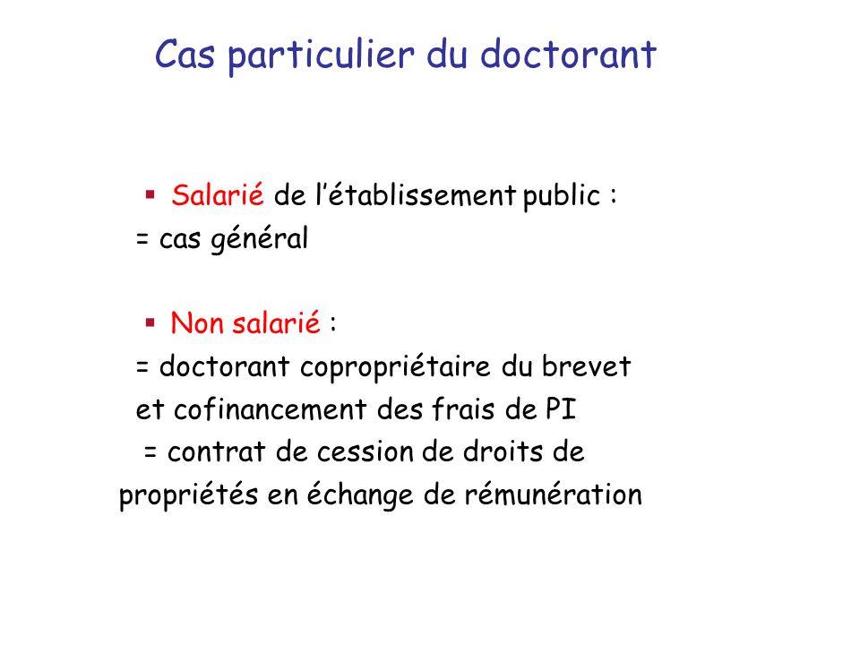 Cas particulier du doctorant Salarié de létablissement public : = cas général Non salarié : = doctorant copropriétaire du brevet et cofinancement des