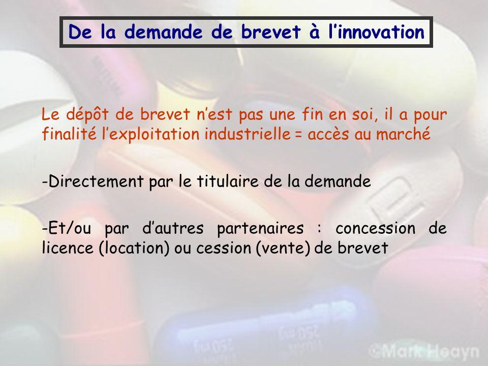 De la demande de brevet à linnovation Le dépôt de brevet nest pas une fin en soi, il a pour finalité lexploitation industrielle = accès au marché -Dir