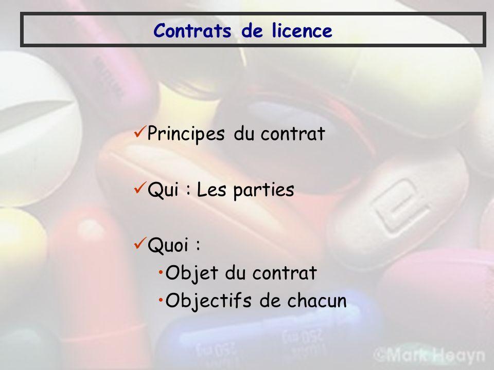 Contrats de licence Principes du contrat Qui : Les parties Quoi : Objet du contrat Objectifs de chacun