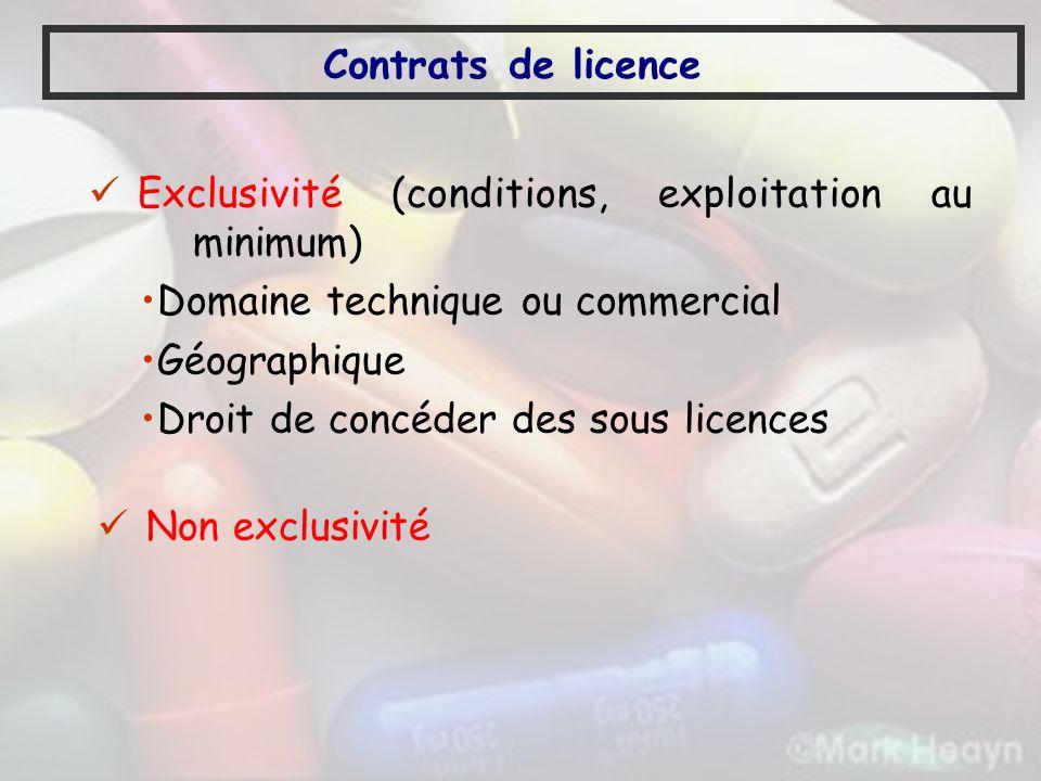 Contrats de licence Exclusivité (conditions, exploitation au minimum) Domaine technique ou commercial Géographique Droit de concéder des sous licences