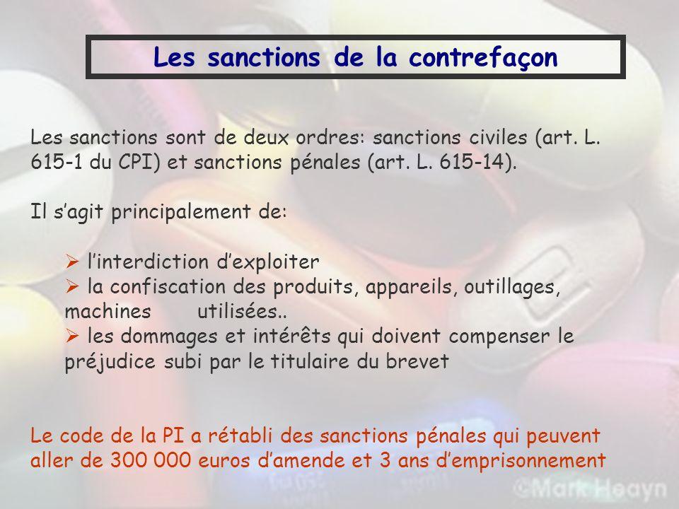 Les sanctions sont de deux ordres: sanctions civiles (art. L. 615-1 du CPI) et sanctions pénales (art. L. 615-14). Il sagit principalement de: linterd