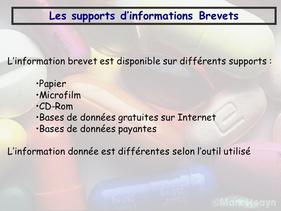 Les supports dinformations Brevets Linformation brevet est disponible sur différents supports : Papier Microfilm CD-Rom Bases de données gratuites sur