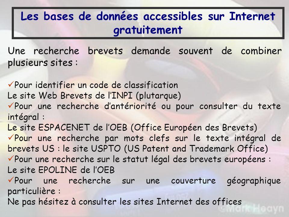 Les bases de données accessibles sur Internet gratuitement Une recherche brevets demande souvent de combiner plusieurs sites : Pour identifier un code