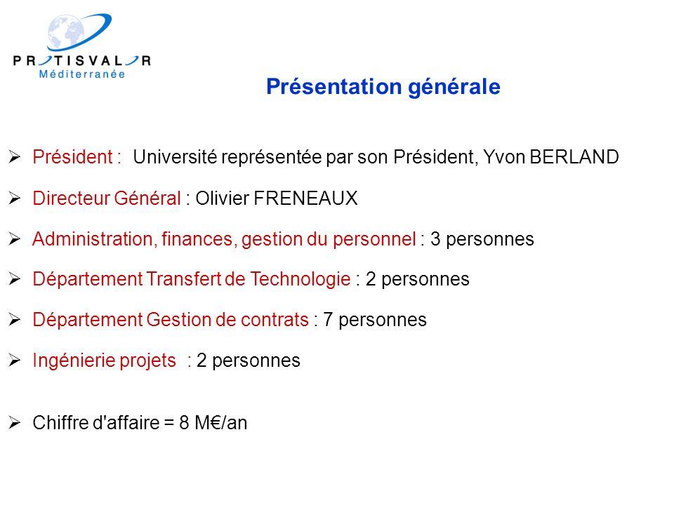 Présentation générale Président : Université représentée par son Président, Yvon BERLAND Directeur Général : Olivier FRENEAUX Administration, finances