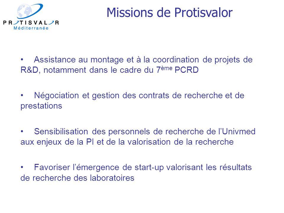 Assistance au montage et à la coordination de projets de R&D, notamment dans le cadre du 7 ème PCRD Négociation et gestion des contrats de recherche e