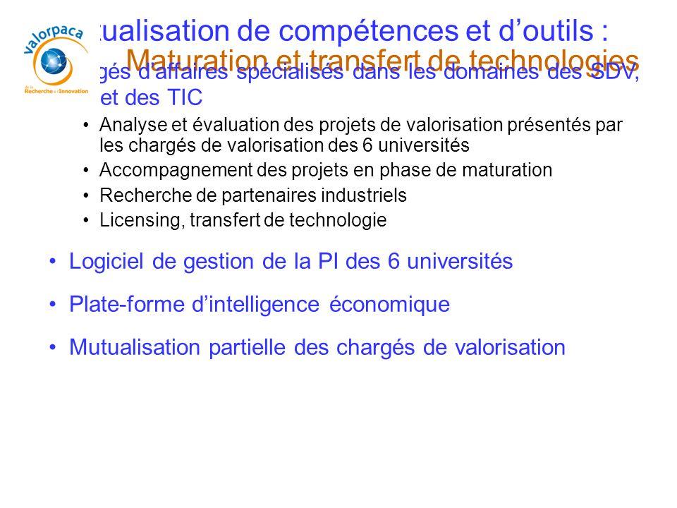 Maturation et transfert de technologies Mutualisation de compétences et doutils : - 3 chargés daffaires spécialisés dans les domaines des SDV, des SPI