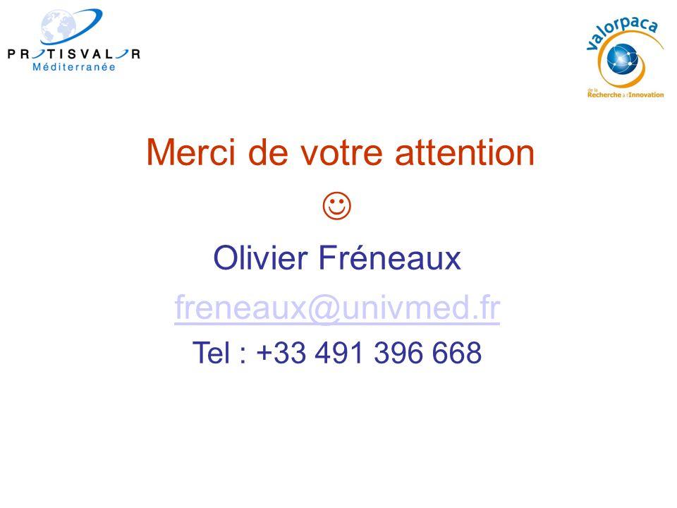 Merci de votre attention Olivier Fréneaux freneaux@univmed.fr Tel : +33 491 396 668