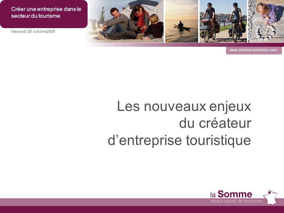 Les nouveaux enjeux du créateur dentreprise touristique Mercredi 28 octobre2009 Créer une entreprise dans le secteur du tourisme www.somme-tourisme.com