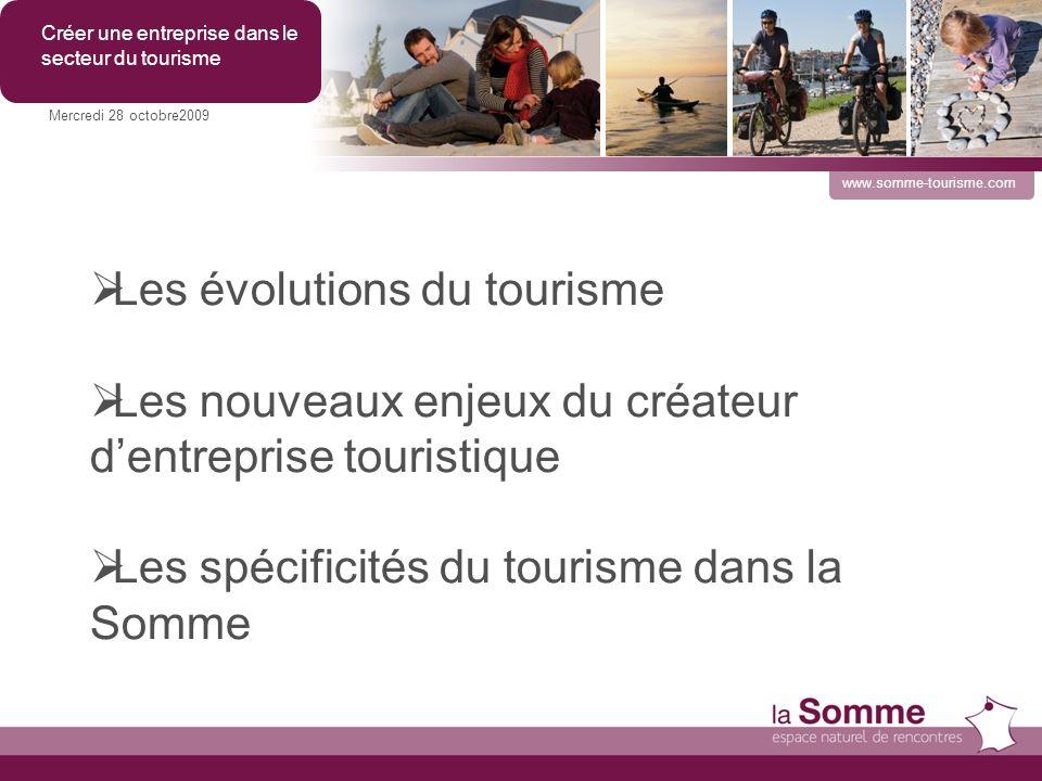 Les évolutions du tourisme Mercredi 28 octobre2009 Créer une entreprise dans le secteur du tourisme www.somme-tourisme.com