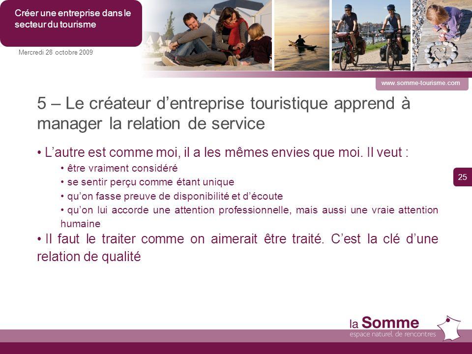 5 – Le créateur dentreprise touristique apprend à manager la relation de service Lautre est comme moi, il a les mêmes envies que moi.