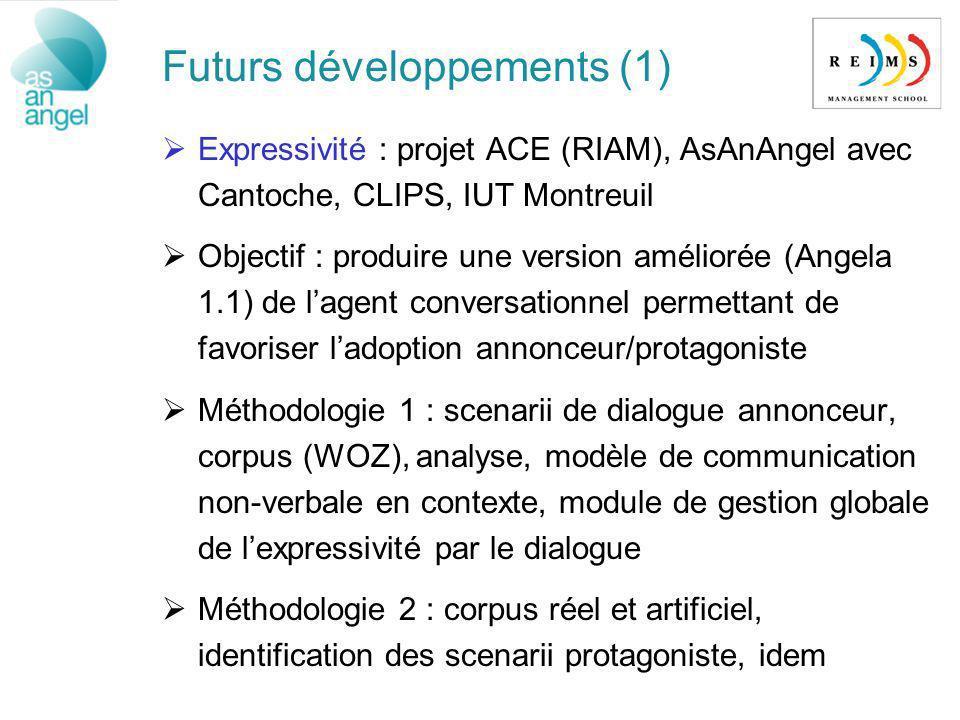 Futurs développements (1) Expressivité : projet ACE (RIAM), AsAnAngel avec Cantoche, CLIPS, IUT Montreuil Objectif : produire une version améliorée (A