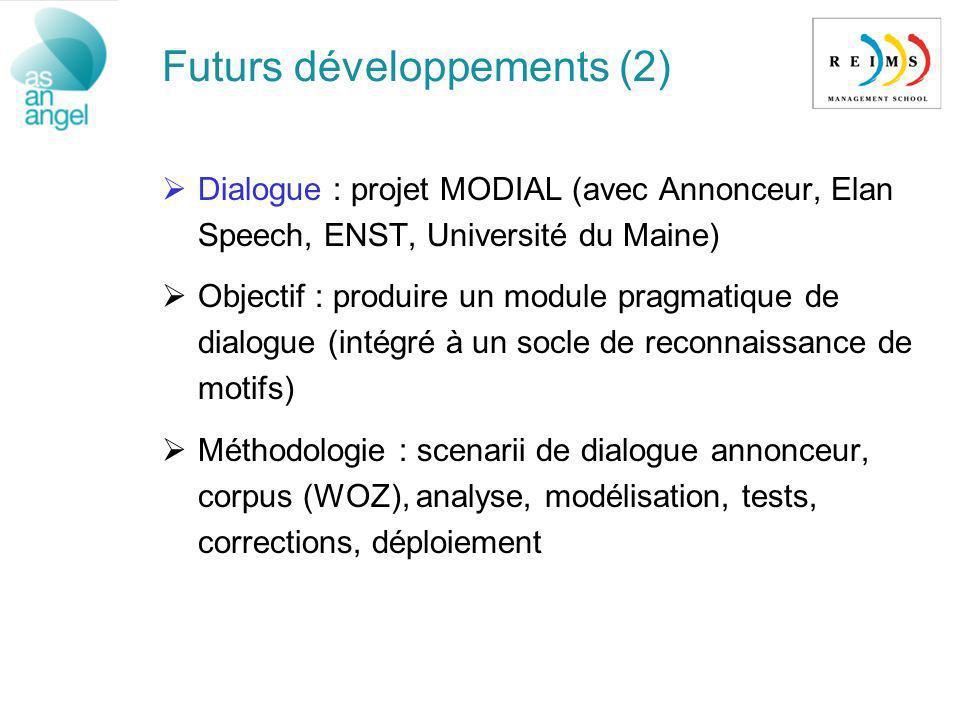 Futurs développements (2) Dialogue : projet MODIAL (avec Annonceur, Elan Speech, ENST, Université du Maine) Objectif : produire un module pragmatique